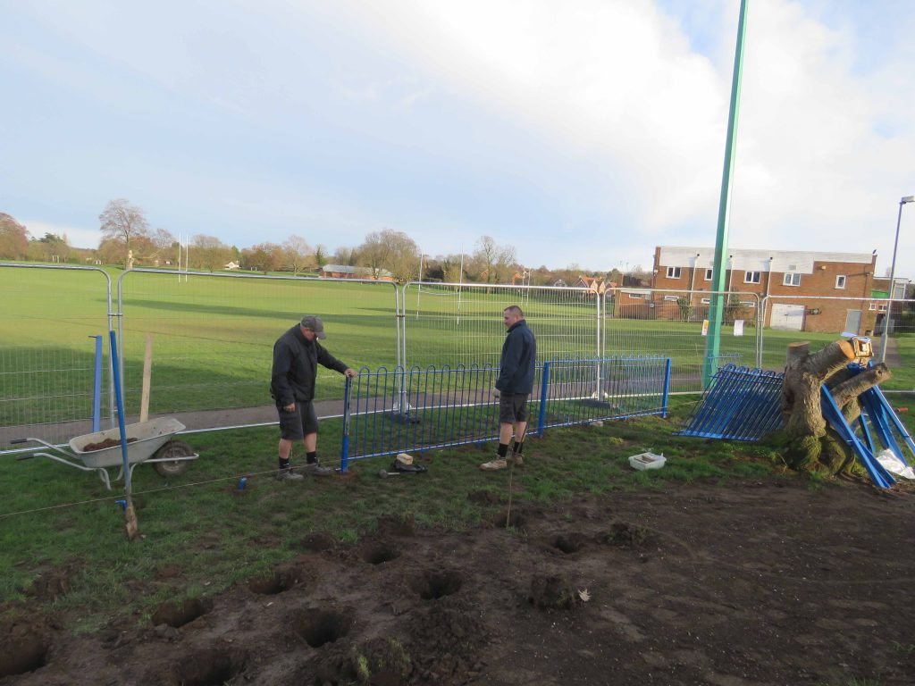 The fencing starts being fitted