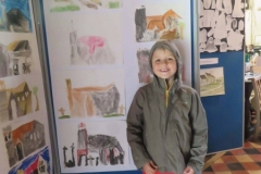 St Lawrence Church - A Young Effingham Resident in Front of his Painting of the Church